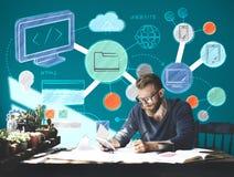 Webdesign-Entwicklungs-Art-Ideen-Website-Konzept Lizenzfreie Stockfotos