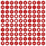 100 webdesign icons hexagon red. 100 webdesign icons set in red hexagon isolated vector illustration vector illustration
