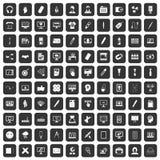 100 webdesign icons set black. 100 webdesign icons set in black color isolated vector illustration Royalty Free Stock Image