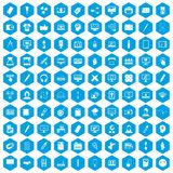 100 webdesign icons set blue. 100 webdesign icons set in blue hexagon isolated vector illustration Royalty Free Stock Photography