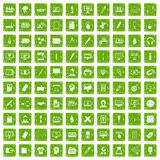 100 webdesign icons set grunge green. 100 webdesign icons set in grunge style green color isolated on white background vector illustration Stock Photos