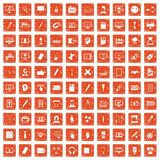 100 webdesign icons set grunge orange. 100 webdesign icons set in grunge style orange color isolated on white background vector illustration Royalty Free Stock Photography
