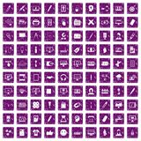 100 webdesign icons set grunge purple. 100 webdesign icons set in grunge style purple color isolated on white background vector illustration Royalty Free Stock Images