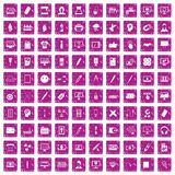 100 webdesign icons set grunge pink. 100 webdesign icons set in grunge style pink color isolated on white background vector illustration Stock Image