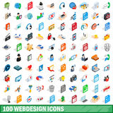 100 webdesign icons set, isometric 3d style Royalty Free Stock Images