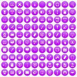 100 webdesign icons set purple. 100 webdesign icons set in purple circle isolated on white vector illustration Vector Illustration