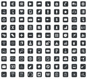 100 Webdesign icons set, square, black. 100 Webdesign icons set, in black squares, on white background Stock Photography