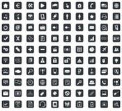 100 Webdesign icons set, square, black Stock Photography