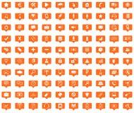 Webdesign orange message icons set Royalty Free Stock Photos