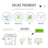 Webdesign-Schablone der Apotheke und Chemiker online kaufen Stockfotografie