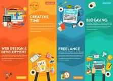 Webdesign, sviluppo, blogging, Freeance e concetto creativo di tempo Fotografie Stock Libere da Diritti