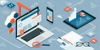 Webdesign und Entwicklung lizenzfreie abbildung