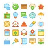 Webdesign und Entwicklung farbige Vektor-Ikonen 4 Lizenzfreies Stockbild