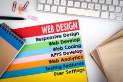 Webdesign und Entwicklung Schreibtisch mit einer Computertastatur und Farbseiten Lizenzfreie Stockbilder