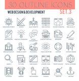 Webdesign-und Entwicklungs-Entwurfs-Ikonen lizenzfreie stockfotos