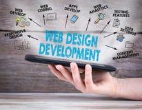 Webdesign und Entwicklungskonzept Tablet-Computer in der Hand Alter hölzerner Hintergrund Stockfoto
