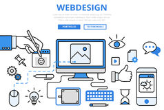 Webdesign website design GUI concept flat line art vector icons. Webdesign website design GUI user interface wireframe prototype frontend development internet Royalty Free Stock Image