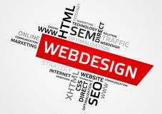 WEBDESIGN word cloud, tag cloud, vector graphics Royalty Free Stock Photos