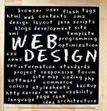 Webdesign-Wort-Wolke auf Tafel Stockfotografie