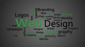 Webdesignausdrücke, die zusammen erscheinen stock footage