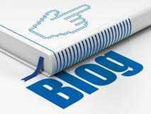 Webdesignkonzept: Buch Mauscursor, Blog auf weißem Hintergrund Stockbild