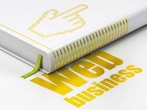 Webdesignkonzept: buchen Sie Mauscursor, Netz-Geschäft auf weißem Hintergrund Lizenzfreie Stockbilder