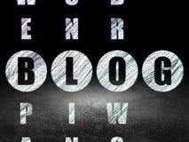 Webdesignkonzept: Wort Blog, wenn Kreuzworträtsel gelöst wird Stockfoto
