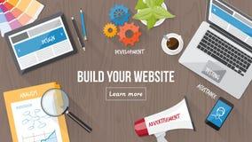 Webdesignkonzeptschreibtisch Stockfotos