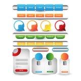 Webdesignschablonen-Navigationselemente: Navigationsknöpfe mit Verzierungen Lizenzfreies Stockfoto