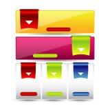 Webdesignschablonen-Navigationselemente: Navigationsknöpfe mit Verzierungen Stockbild