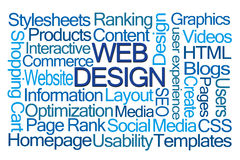 Webdesignwortwolke Lizenzfreies Stockfoto