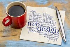 Webdesignwortwolke auf Serviette Lizenzfreie Stockbilder