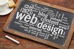 Webdesignwortwolke auf Tafel Stockfoto