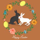 WebEaster bunny in the century of eggs and flowers stock illustration