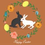 WebEaster królik w wieku jajka i kwiaty ilustracji