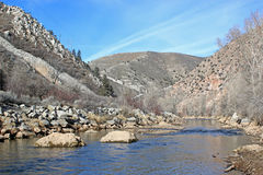 Weber Canyon, Utah. Weber river in the canyon in winter Stock Photo