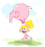WebGirl with a balloon - an elephant Stock Photography