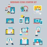 Webinar σε απευθείας σύνδεση Ιστού σειράς μαθημάτων σύνολο εικονιδίων εκπαίδευσης τηλεοπτικό Στοκ φωτογραφίες με δικαίωμα ελεύθερης χρήσης