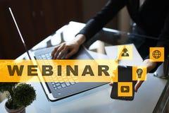 Webinar 电子教学,网上教育概念 私有的发展 虚拟的屏幕 免版税库存照片