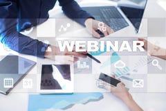 Webinar 电子教学,网上教育概念 私有的发展 免版税图库摄影