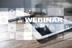 Webinar 电子教学,网上教育概念 私有的发展 免版税库存图片
