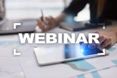 Webinar 电子教学,网上教育概念 私有的发展 免版税库存照片