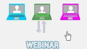 Webinar animował sztandar z stubarwnymi laptopami, łączy kursor, strzała, guzika i ręki, linia uczenie, online royalty ilustracja