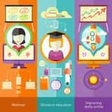 Webinar avståndsutbildning och förbättraexpertis stock illustrationer