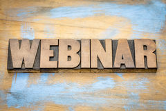 Webinar banner  in letterpress wood type Stock Images
