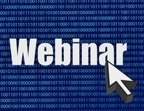 Webinar binary blue background and cursor Stock Photography