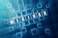 Webinar in blue glass blocks Royalty Free Stock Image