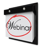 Webinar Calendar Day Date Reminder Online Seminar Learning Sessi. Webinar word on a calendar page to invite or remind you of a special online seminar or Stock Image