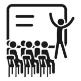 Webinar cohesion icon, simple style royalty free illustration