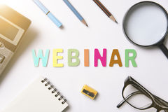Webinar color alphabet on desktop for homepage learning internet. Website web page concept Stock Photography